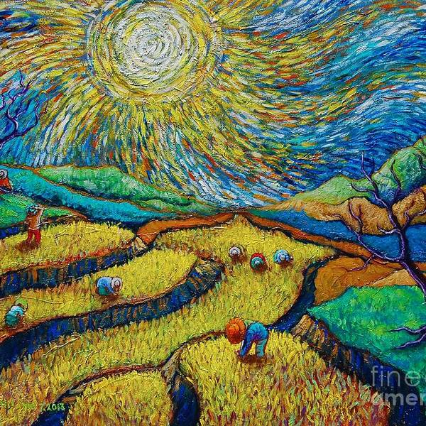 Toil Today Dream Tonight diptych painting number 1 after Van Gogh by Paul Hilario