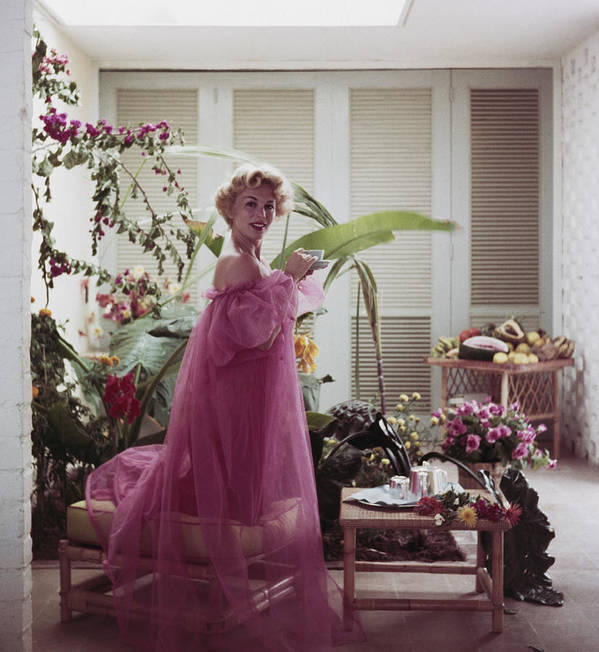 Nightie Art Print featuring the photograph Eva Gabor by Slim Aarons