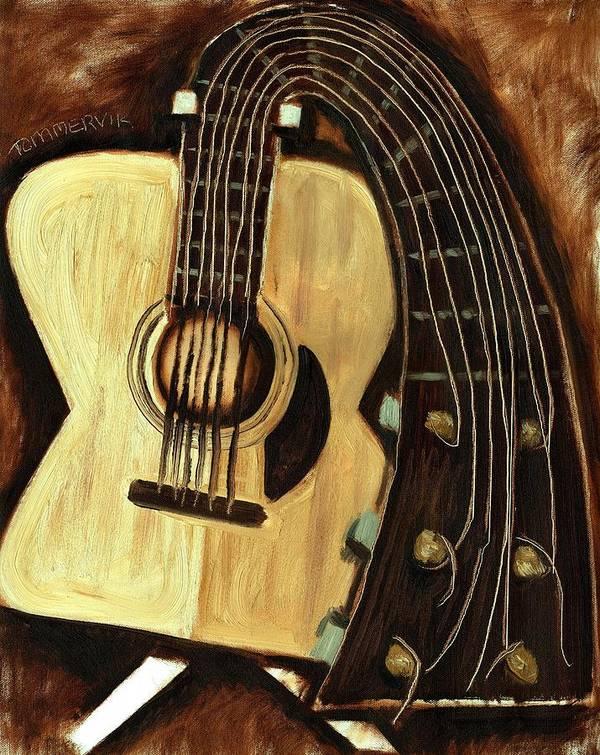 Guitar Art Print featuring the painting Bending Strings Guitar Art Print by Tommervik