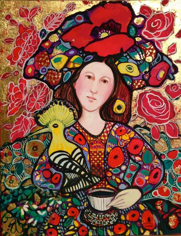 Flowers Art Print featuring the painting Girl with red hat and yellow bird by Marilene Sawaf