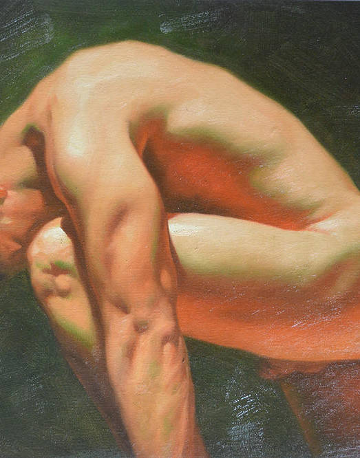 Original classic oil painting man body art-male nude -042 by Hongtao Huang