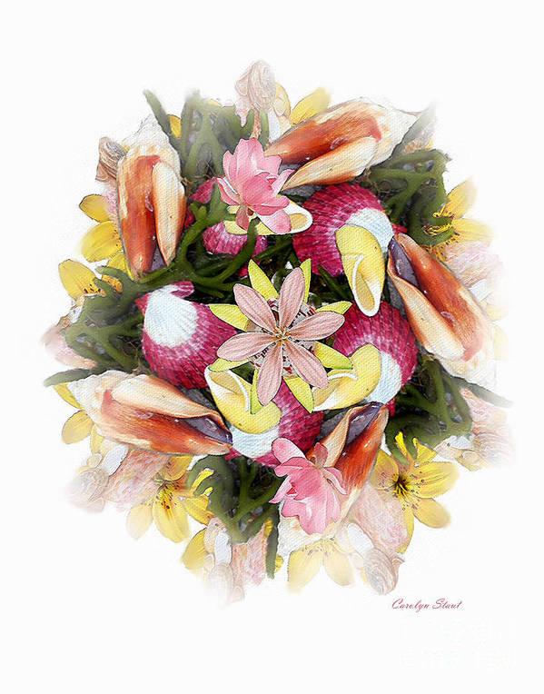 Shells Art Print featuring the digital art Fragrant Seabreeze by Carolyn Staut