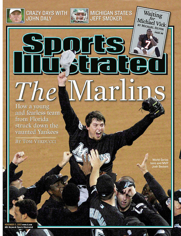 Magazine Cover Art Print featuring the photograph Florida Marlins Josh Beckett, 2003 World Series Sports Illustrated Cover by Sports Illustrated