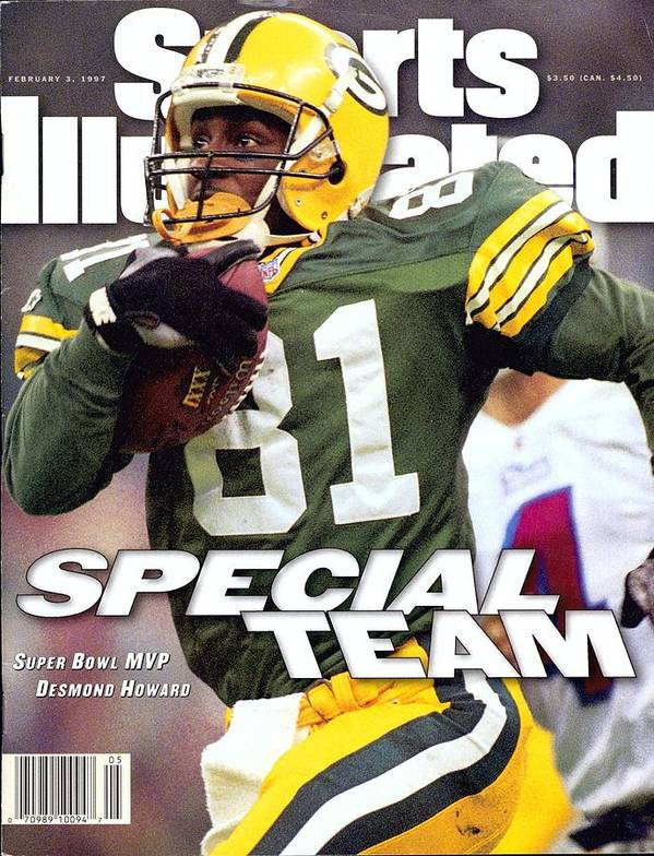 New England Patriots Art Print featuring the photograph Green Bay Packers Desmond Howard, Super Bowl Xxxi Sports Illustrated Cover by Sports Illustrated