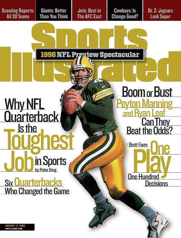 Green Bay Art Print featuring the photograph Green Bay Packers Qb Brett Favre, 1998 Nfl Football Preview Sports Illustrated Cover by Sports Illustrated