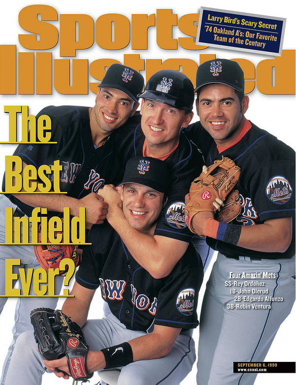 Robin Ventura Art Print featuring the photograph New York Mets The Best Infield Ever Sports Illustrated Cover by Sports Illustrated