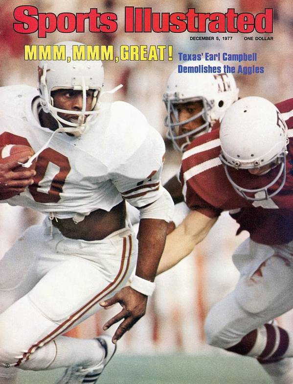 Magazine Cover Art Print featuring the photograph University Of Texas Earl Campbell Sports Illustrated Cover by Sports Illustrated
