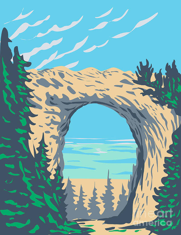 Arch Rock Located in Mackinac Island Within Mackinac National Park in Michigan That Existed from 1875 to 1895 WPA Poster Art by Aloysius Patrimonio
