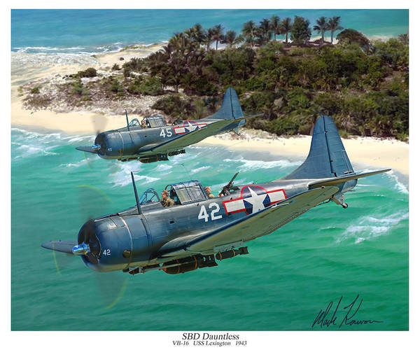 Aviation Art Print featuring the painting Sbd Dauntless by Mark Karvon