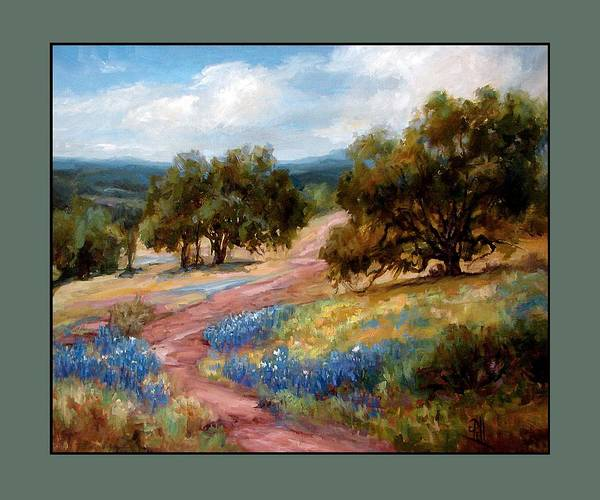 Texas Landscape Hill Country Bluebonnets Art Print featuring the painting A Few Bluebonnets by Lilli Pell