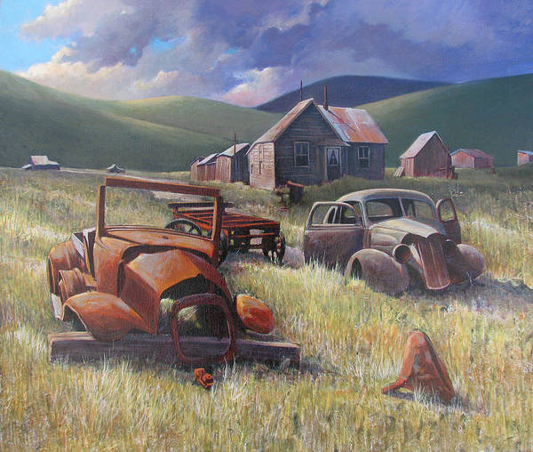 Old Cars Mixed Media Art Print featuring the painting Eternal Race by Don Trout