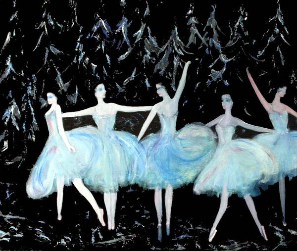 Ballet Art Print featuring the painting Ballet In Blue by Michela Akers