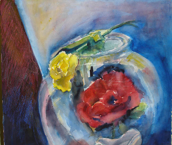 Roses Art Print featuring the painting Roses In A Fish Bowl by Joyce Kanyuk