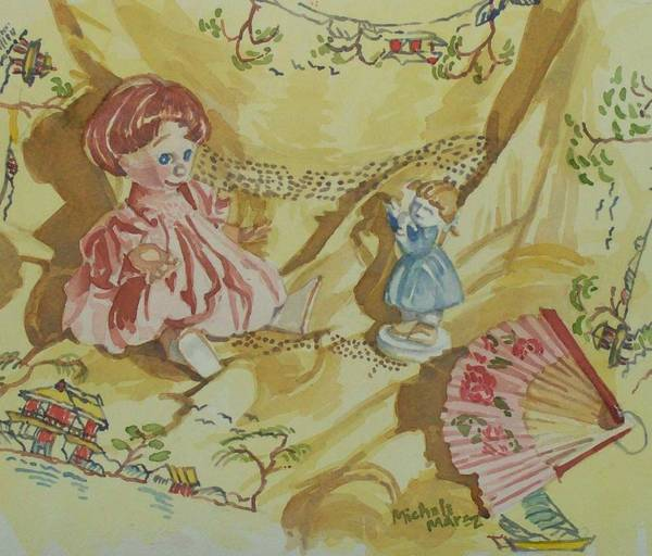 Doll Art Print featuring the painting Dolly With Fan by Michele Marez