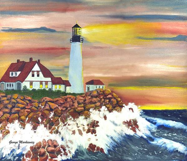 Lighthouse In The Begging Of A Storm Art Print featuring the print Guiding Light by George Markiewicz