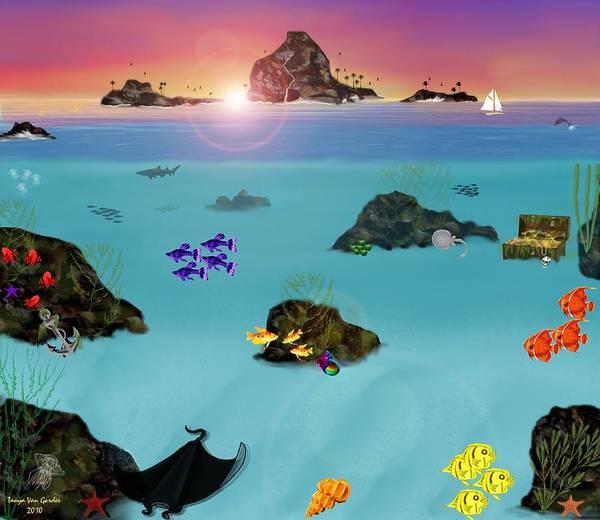 Sea Art Print featuring the digital art Undersea View by Tanya Van Gorder