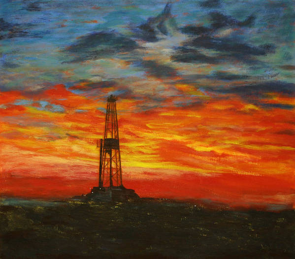 Oil Art Print featuring the painting Sunrise Rig by Karen Peterson