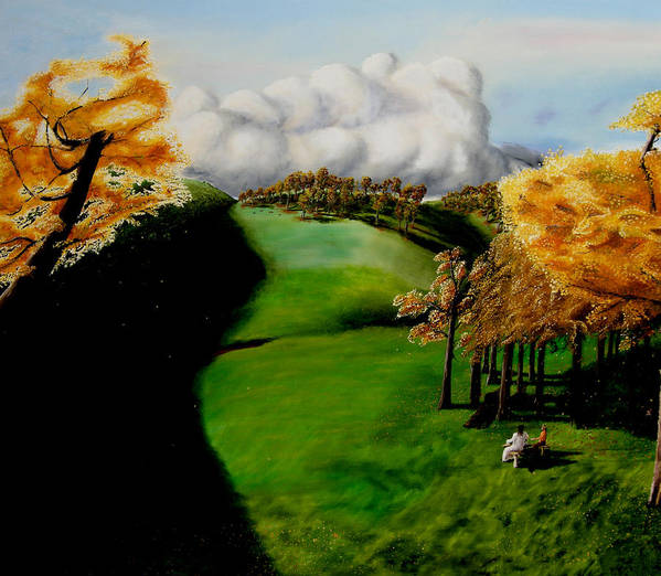 Landscape. Tea Party Art Print featuring the painting Tea Party by Ivan Rijhoff