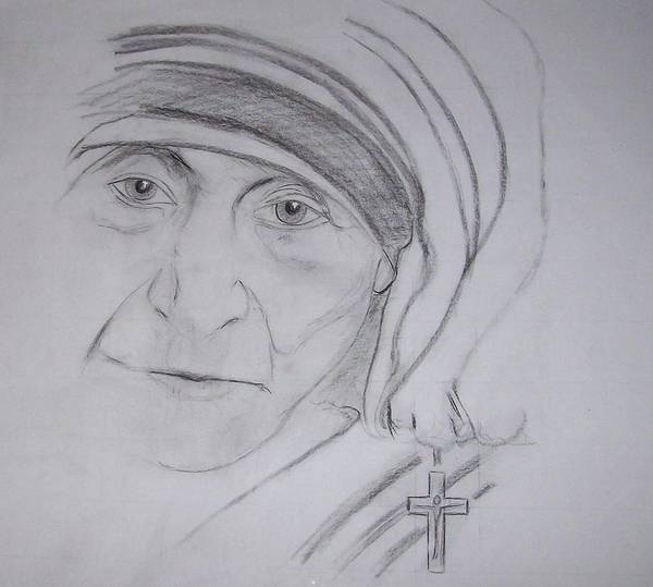 mother Theresa Art Print featuring the drawing Mother Theresa by Valerie Wolf