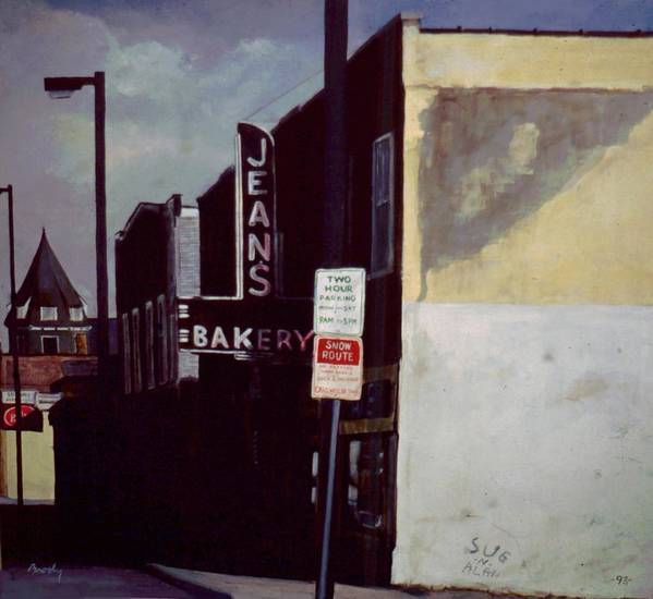 Landscape Art Print featuring the painting Jean's Bakery by William Brody
