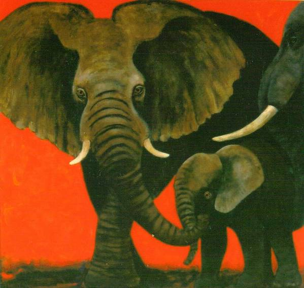 Elephants Art Print featuring the painting Trio by Christine McGinnis