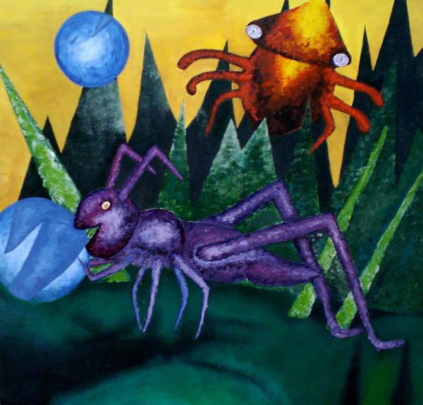 Bugs Art Print featuring the painting Trippy Virgin by Kime Einhorn