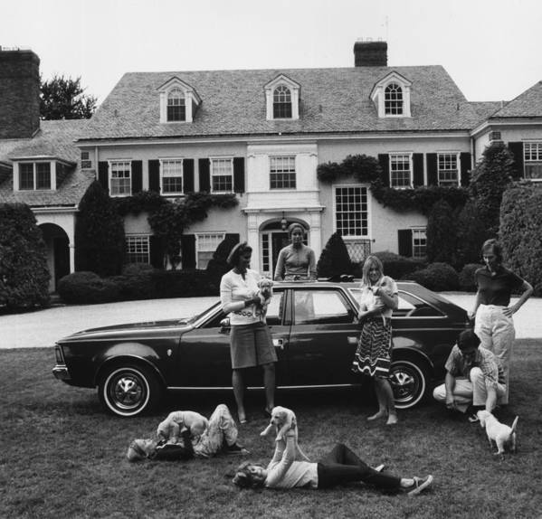 Pets Art Print featuring the photograph Chapin Family by Slim Aarons