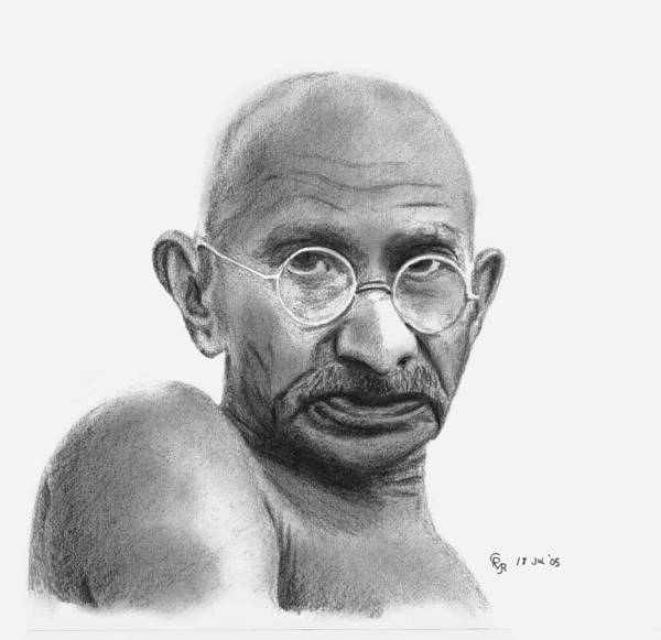 Gandhi Art Print featuring the drawing Gandhi by Charles Vogan