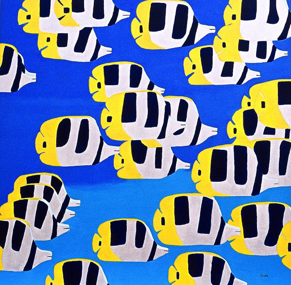 Caribbean Art Print featuring the painting Butterfly Fish by Sula Chance