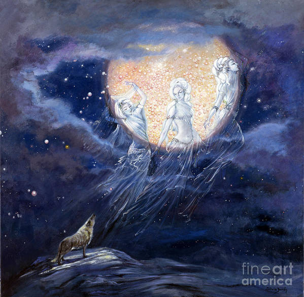 Full Moon Art Print featuring the painting Moon Dance by Silvia Duran