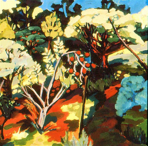 Landscape Apple Orchard Bucks County Pennsylvania Art Print featuring the painting Apple Orchard by Doris Lane Grey