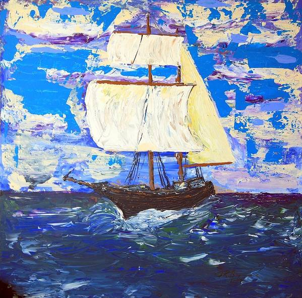 Impressionist Painting Art Print featuring the painting Little Clipper by J R Seymour