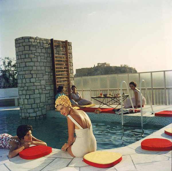 Looking Over Shoulder Art Print featuring the photograph Penthouse Pool by Slim Aarons