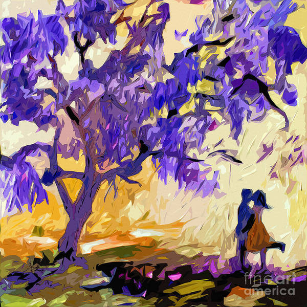 Abstract Print featuring the painting Abstract Jacaranda Tree Lovers by Ginette Callaway