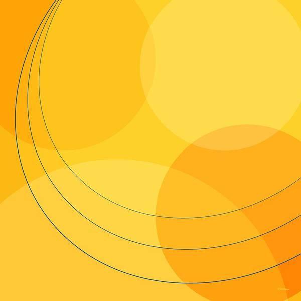Abstract Art Print featuring the digital art Blue Arcs Through Orange Landscape by James Kramer