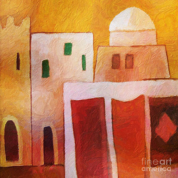 Carpet Town Art Print featuring the painting Carpet Town by Lutz Baar