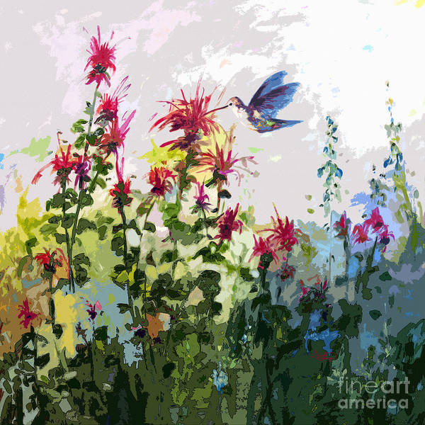 Hummingbirds Art Print featuring the painting Modern Hummingbird And Bee Balm by Ginette Callaway