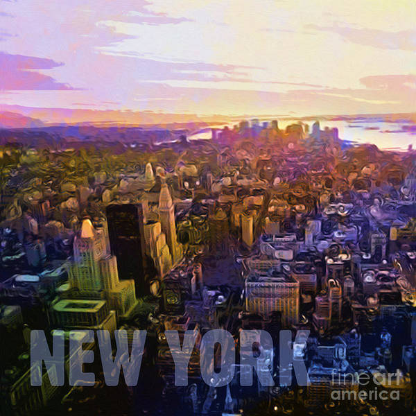 New York City Art Print featuring the digital art New York Sunset by Lutz Baar