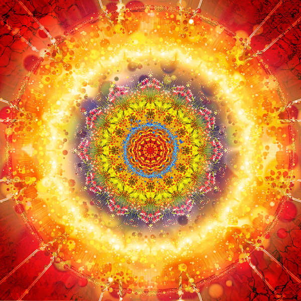 Flower Art Print featuring the digital art Flower Chakra Mandala by Sampad Art