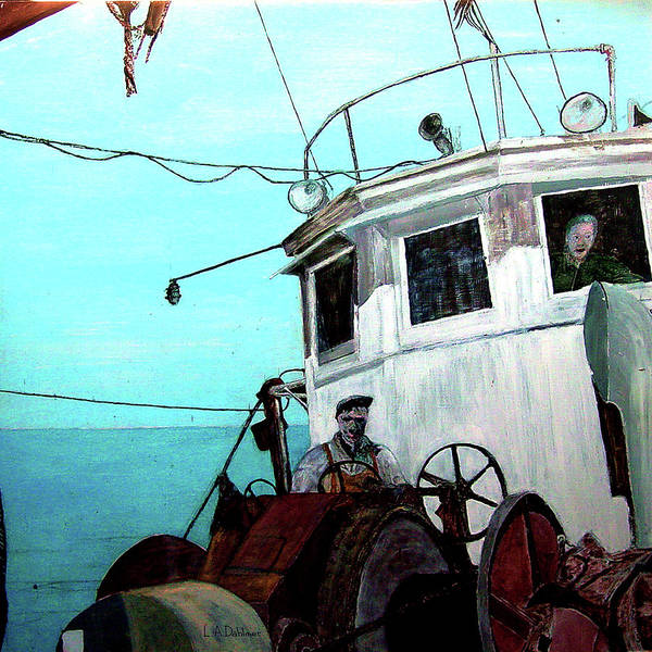 Gloucester Art Print featuring the painting Dad In The Superior's Wheelhouse by Laurence Dahlmer