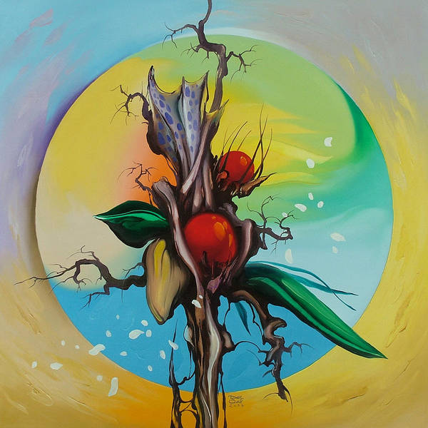 Art Print featuring the painting Moonflower Full Moon 6. by Zoltan Ducsai