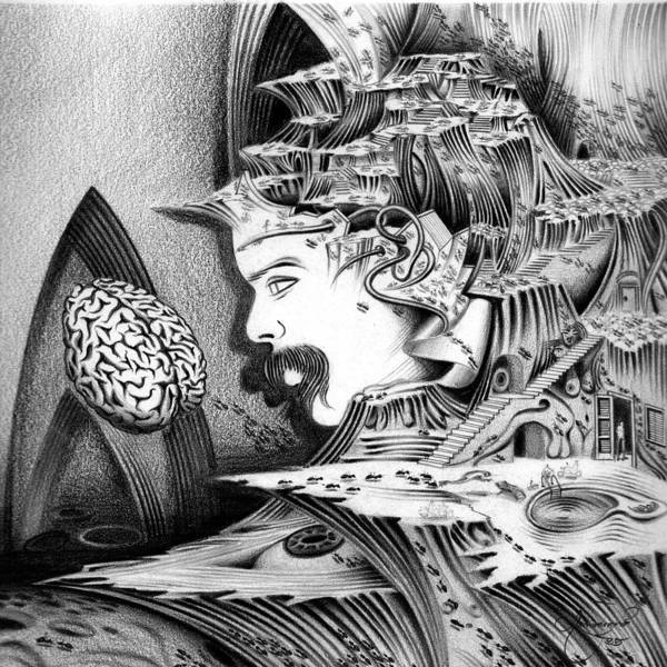 Surrealism Art Print featuring the drawing Self Portrait by Aziz Awang