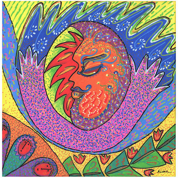 Whimsical Art Print featuring the painting Sun Man by Sharon Nishihara
