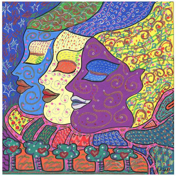 Bright Art Print featuring the painting Three Maidens by Sharon Nishihara