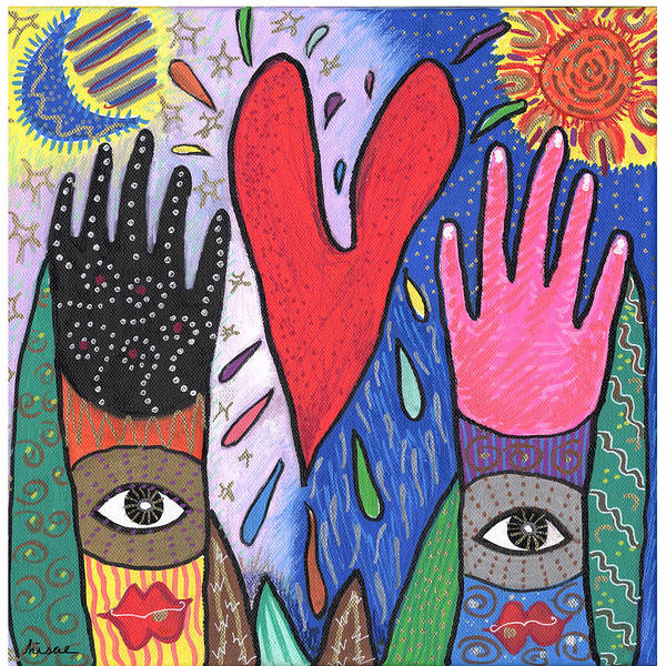 Multicultural Art Print featuring the painting Two Hands by Sharon Nishihara