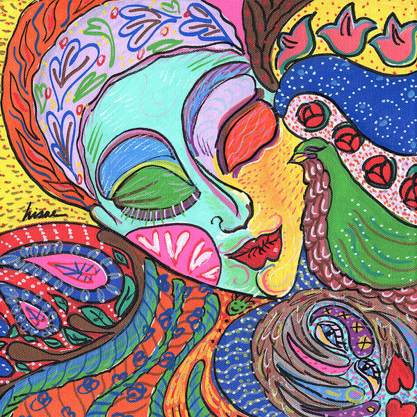 Whimsical Art Print featuring the painting Woman With Scarf by Sharon Nishihara