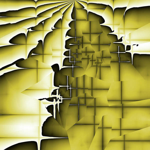 Abstract Art Print featuring the digital art Yellow And Black 3 by Jack Bowman