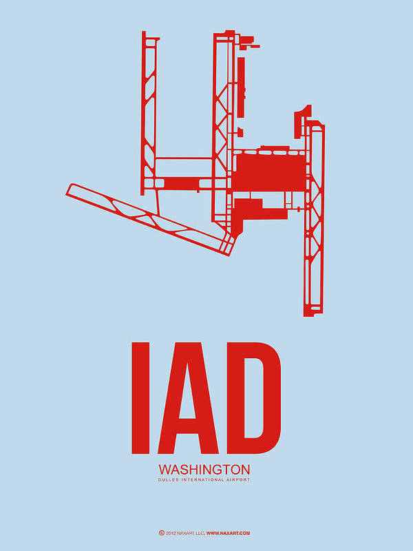 IAD Washington Airport Poster 2 by Naxart Studio