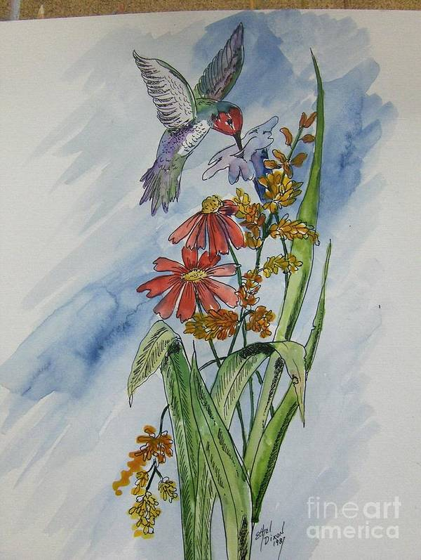 African American Art Art Print featuring the painting Hummingbird 2 by Ethel Dixon