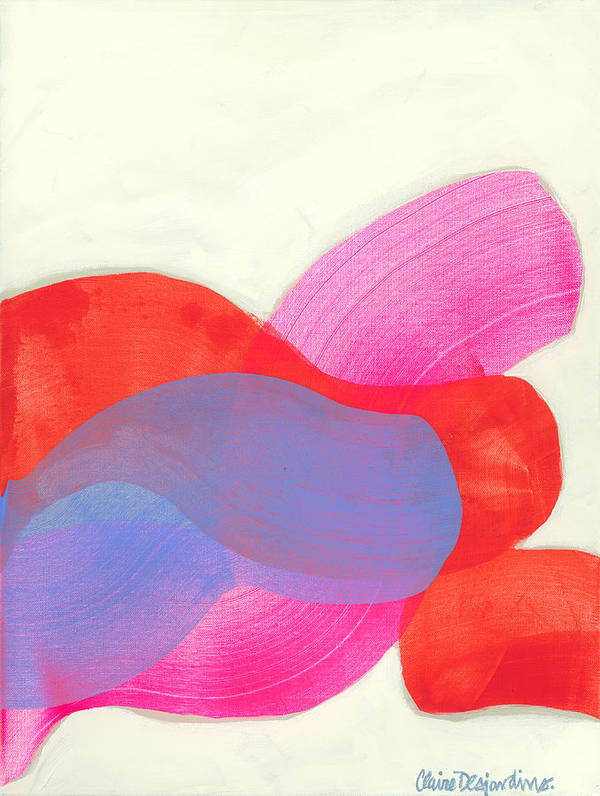 Abstract Art Print featuring the painting What To Say? by Claire Desjardins